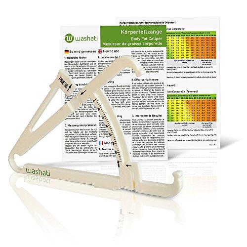 Washati Fettmesszange – Körperfettmessgerät zur Messung der Hautfaltendicke und Umrechnung in Körperfettanteil (mit Anleitung und Umrechnungstabelle)